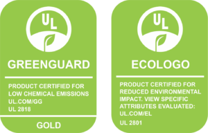 Sello de garantía de uso de tintas ecológicas latex